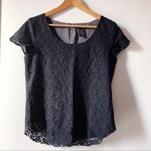 Aritzia Talula Betsy black lace blouse size medium